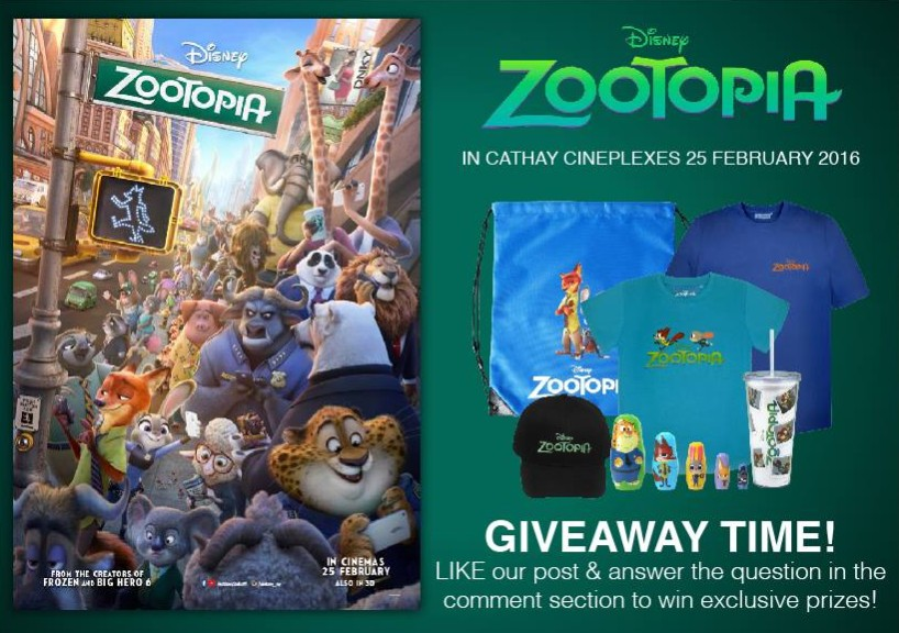 Win Zootopia Movie Premiums at Cathay Cineplexes Sdn Bhd