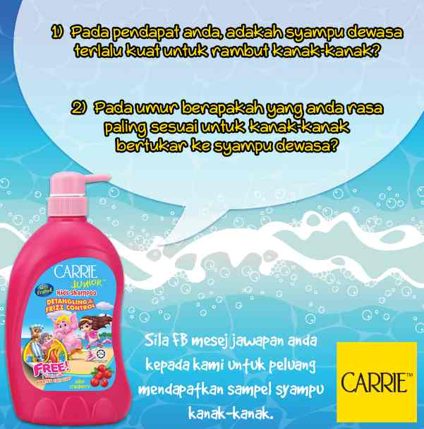 #FREE sample Pack Shampoo Carrie Junior Malaysia
