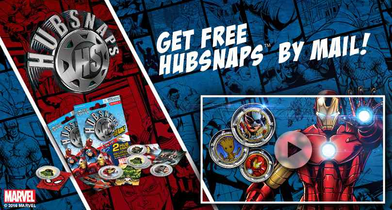 GET FREE MARVEL HUBSNAPS™ BY MAIL #giftout