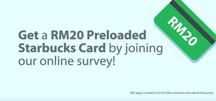 Get a Rm20 Preloaded Starbucks Card by joining RHB online survey