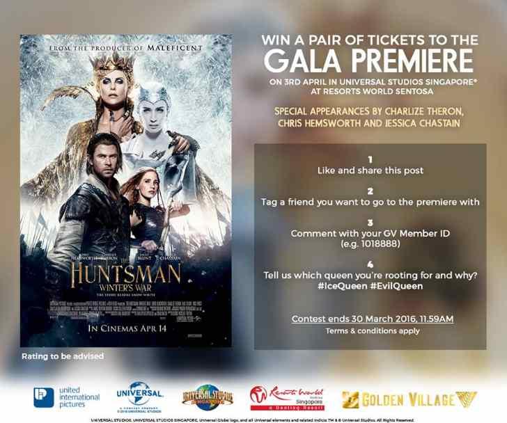 #WIN gala premiere of THE HUNTSMAN WINTER'S WAR at Golden Village Mr Popcorn