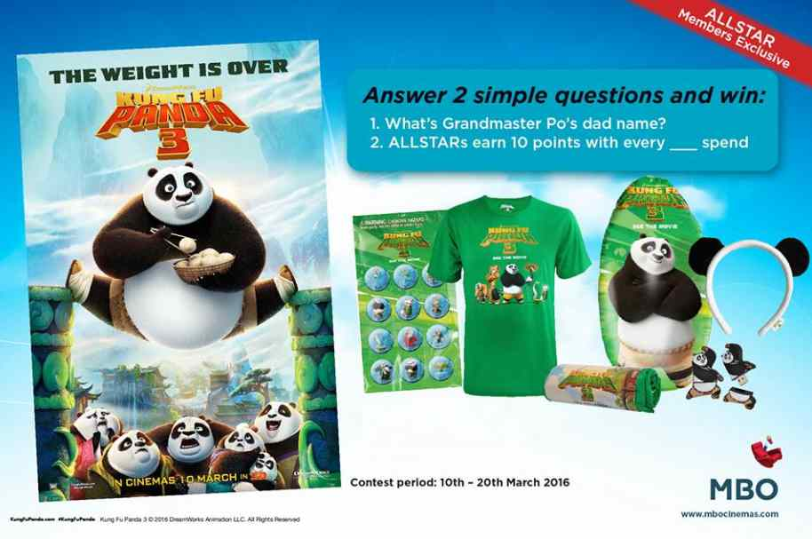 Win Kung Fu Panda 3 movie merchandise at MBO Cinemas #Malaysia