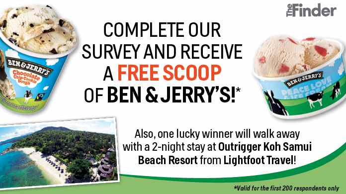 Receive a free scoop of Ben & Jerry's ice cream by completing a survey