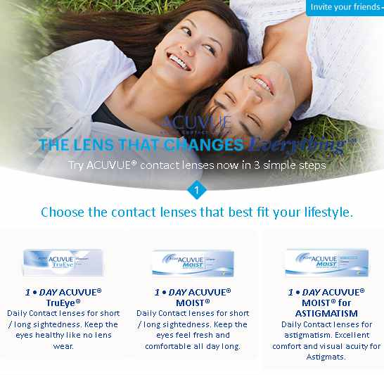Trial lenses redemption at Acuvue Malaysia