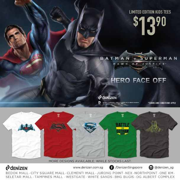 Win a Batman v Superman Dawn of Justice Tee or Lanyard at Denizen Singapore