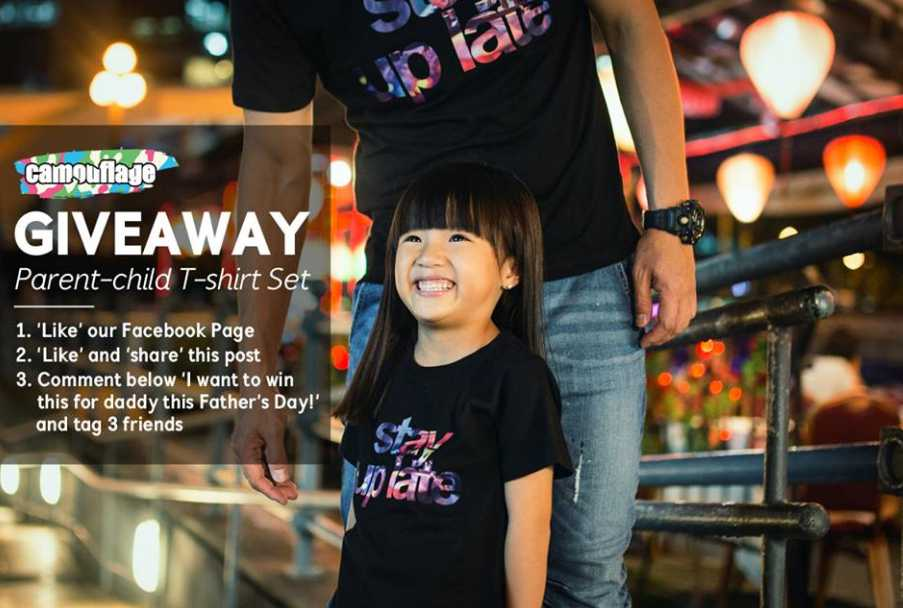 Giving away one set of our new Parent-child T-shirt at Camouflage Kids