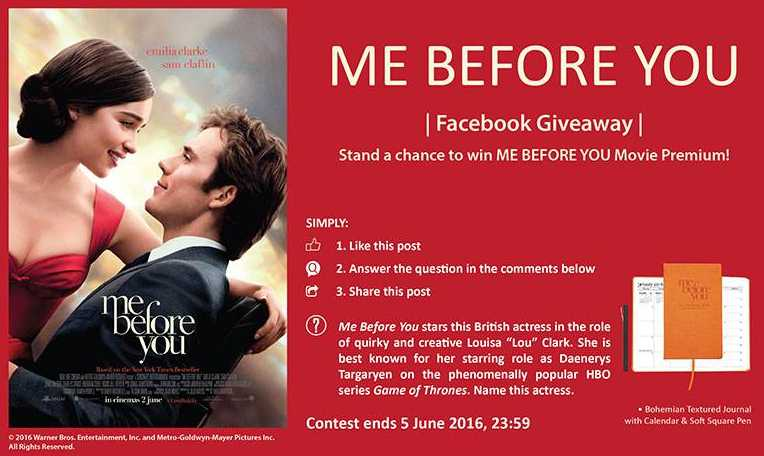 Stand a chance to win ME BEFORE YOU movie premium at Filmgarde Cineplex