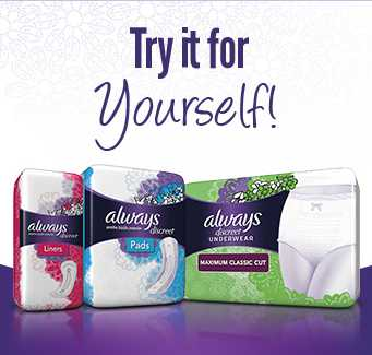 Free Always Discreet Liner, Pad, or Underwear pack