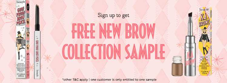 Free New Brow Sample at Benefit Cosmetics Malaysia