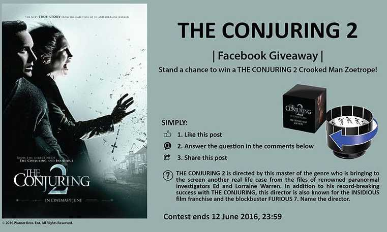 Stand a chance to win a THE CONJURING 2 crooked man zoetrope
