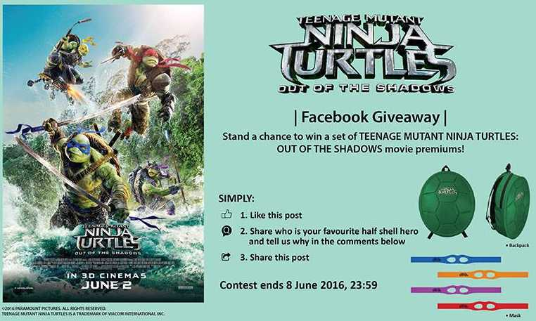 Stand a chance to win a set of TEENAGE MUTANT NINJA TURTLES OUT OF THE SHADOWS movie premiums at Filmgarde Cineplex