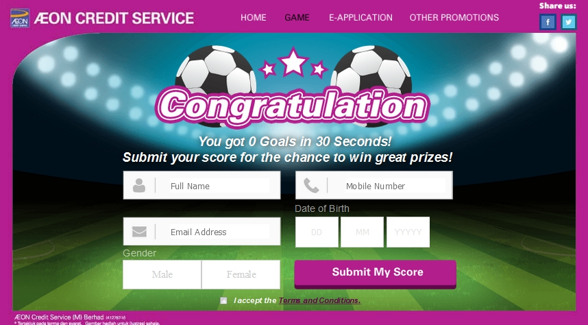 AEON Credit Service (M) Bhd JUARA BOLA ONLINE SOCCER GAME CONTEST