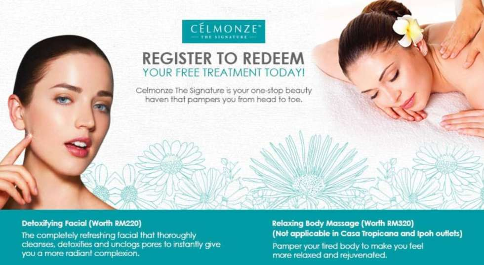 Register to Redeem your FREE Treatment at Celmonze The Signature