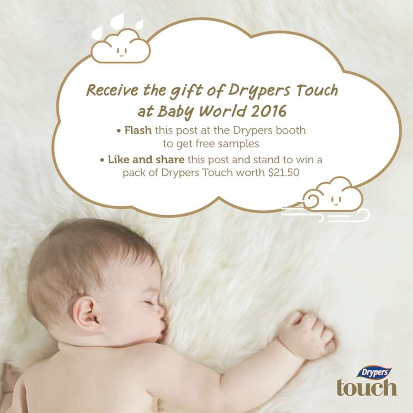 Simply flash this post at Baby World to receive Dryers free samples