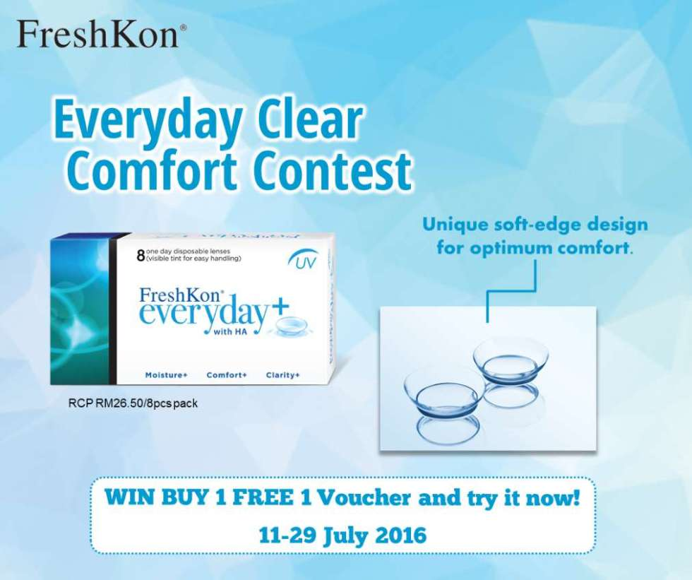 #Win a Buy 1 Free 1 FreshKon Everyday+ Contact Lens voucher