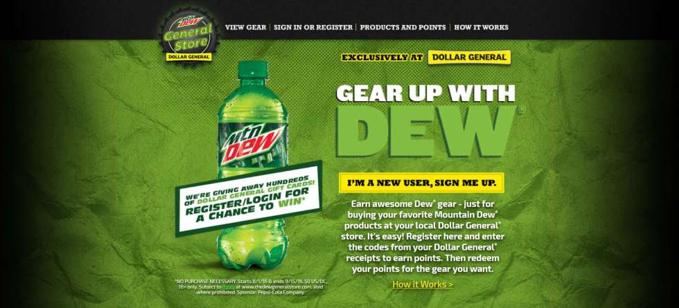 DEW GENERAL INSTANT WIN GAME