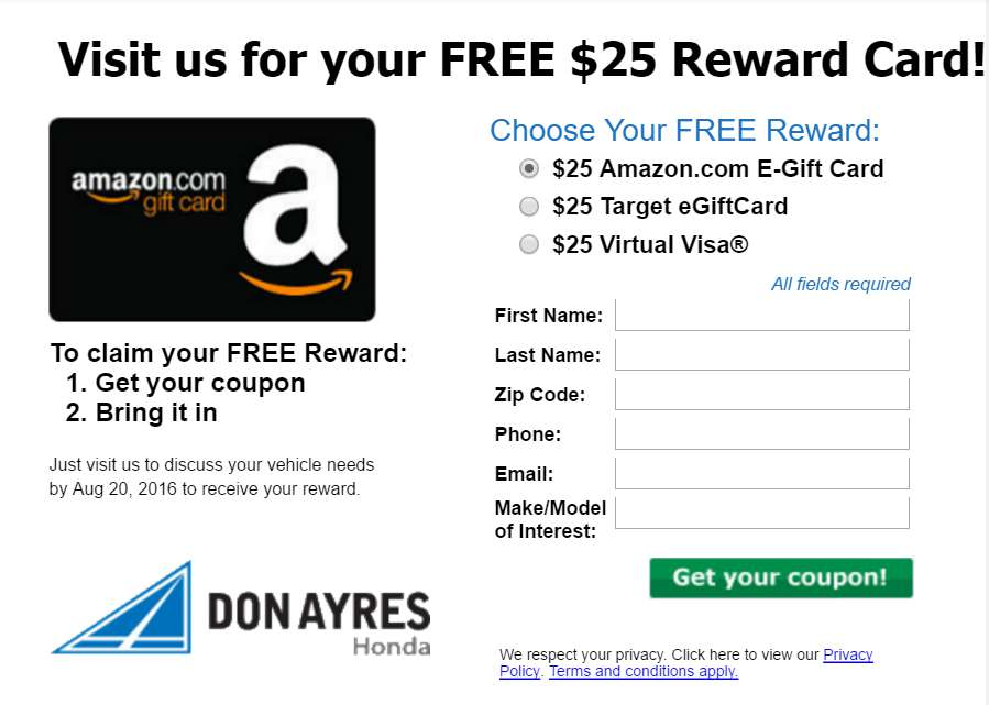 #Free Amazon Gift Card when you test drive at Don Ayres Honda