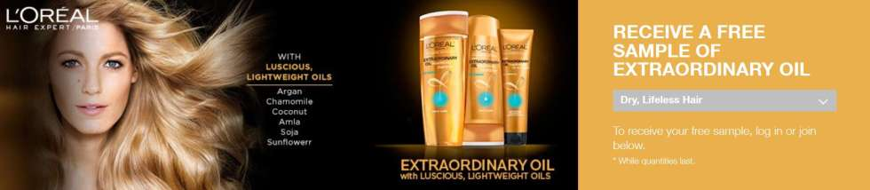 FREE SAMPLE OF LOREAL EXTRAORDINARY OIL FOR DRY & LIFELESS HAIR