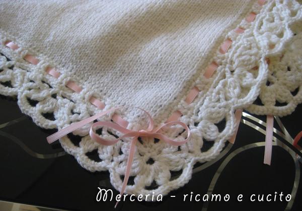 Copertina in lana per neonato  GIFT  Ricamo e cucito
