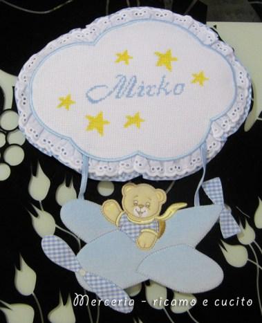 Fiocco nascita aeroplano per Mirko