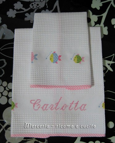 Coppia asciugamani in cotone nido d'ape per Carlotta