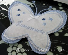 Fiocco nascita farfalla celeste per Emanuele