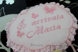 """Fiocco nascita aeroplano rosa """"E' arrivata Marta"""""""