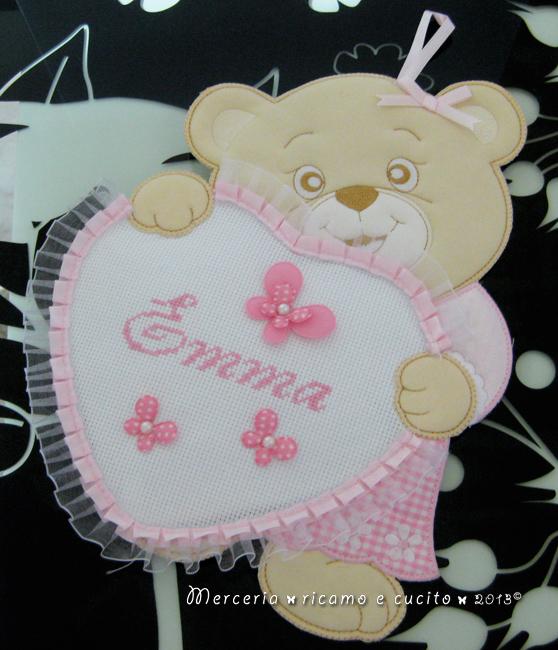 Fiocco nascita orsetto con cuore rosa per Emma
