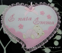 Fiocchi nascita cuore, cicogna e macchina per Emma