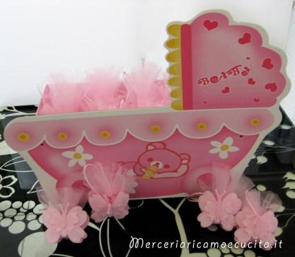 Sacchettino bomboniera portaconfetti rosa a forma di farfalla