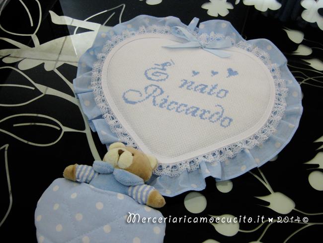 Fiocco nascita cuore celeste con orsetto E nato Riccardo
