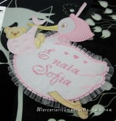 """Fiocco nascita cicogna rosa """"E' nata Sofia"""""""