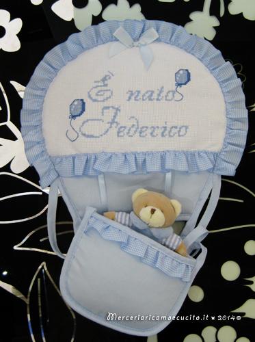 Fiocco nascita mongolfiera celeste E nato Federico  GIFT