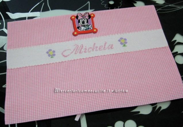 Sacchetto quadrettato nascita e asilo con Minnie per Michela