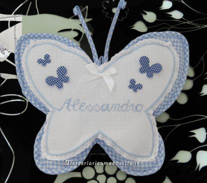 Fiocco nascita farfalla celeste per Alessandro