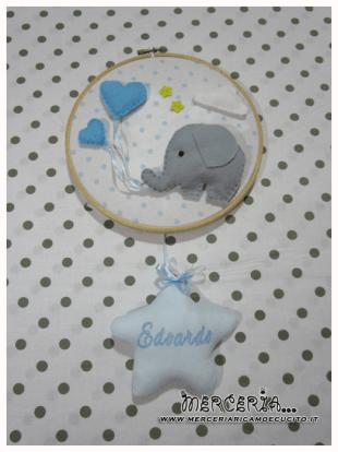 Fiocco nascita con elefantino e stellina per Edoardo