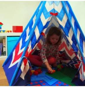 Image showing child playing in Chevron Play Teepee Set.
