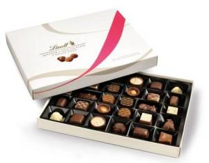 Open box of Lindt Chocolate (Master Chocolatier Collection).
