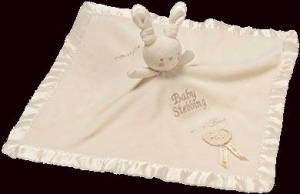 Image of Pure Love Bunny Baby Comforter set against dark background.