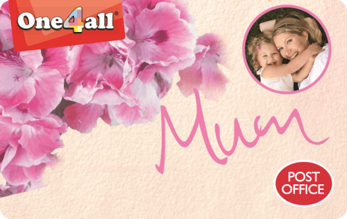 Image showing One4all Gift Card featuring a photo and the word 'Mum'