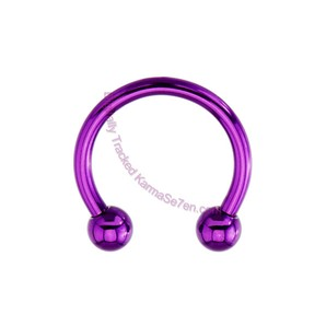 Circular Barbell Belly Ring, purple
