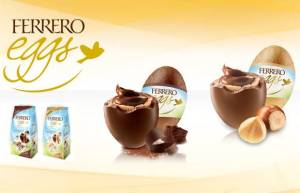 Image showing small bags and enlarged versions of Ferrero Eggs