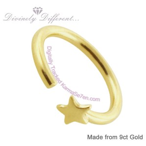 Close-up of Karma7 9ct Gold Open Ring With Star