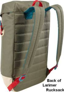 Image of the petrol green Larimer Rucksack seen from the back.