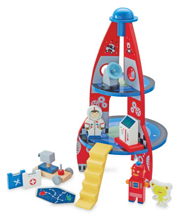 Wooden Toys. Image showing Wooden Rocket and Accessories.
