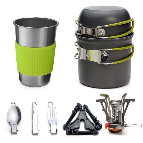 Odoland 9 Pieces Camping Cookware Kit