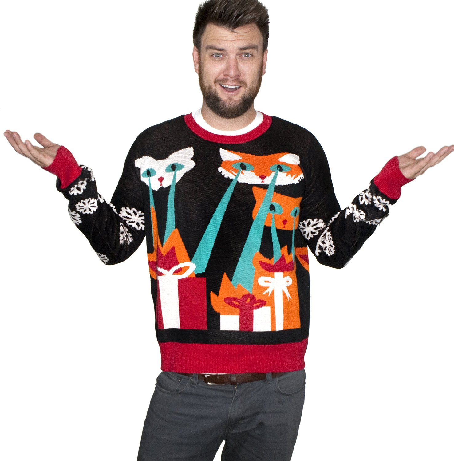 Gift Search Laser Cat Zillas Ugly Christmas Sweater