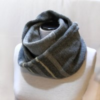 Knit Infinity Scarf, Circle Scarf, Loop Men Grey Scarf