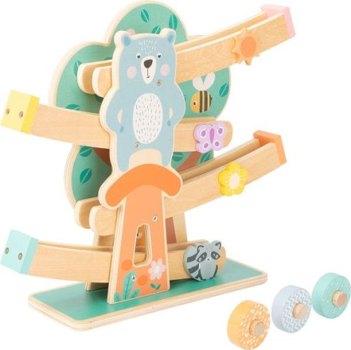 Wooden Marble Run in Pastel Colours