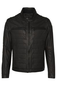 Men's soft leather biker jacket with lightweight lining by BOSS no model